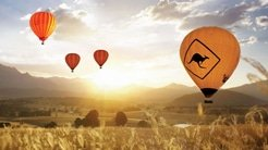 Four hot air balloons in the sky